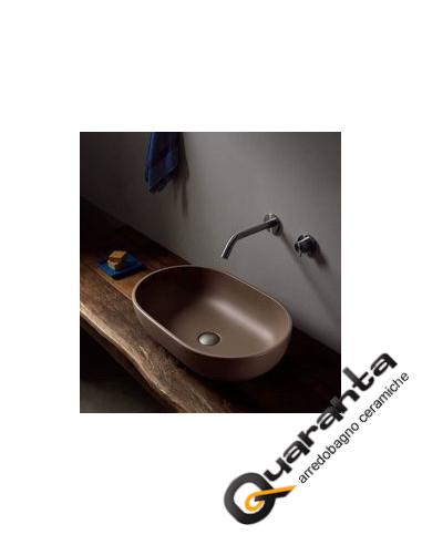 Flaminia Pass lavabo ovale da appoggio cm 62 fango