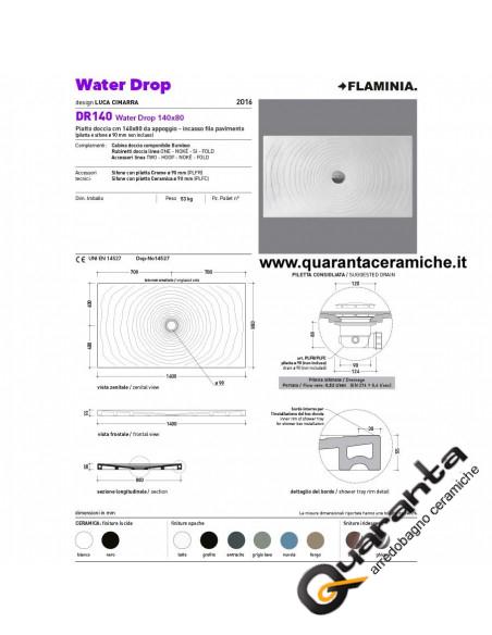 Flaminia piatto doccia water drop 80x140 nuvola H5,5 cm