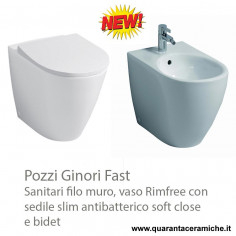 Geberit Fast back to wall rimfree toilet pan with soft close antibacterial slim seat and bidet