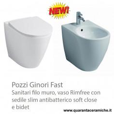 Sanitärkeramik mit Wandanschluss Geberit (Pozzi Ginori) Fast WC Rimfree Bidet, Toilettensitz slim antibakteriell Slow Close