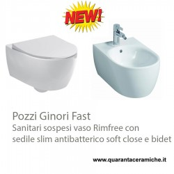 Geberit Fast wall hung rimfree toilet pan with soft close antibacterial slim seat and bidet
