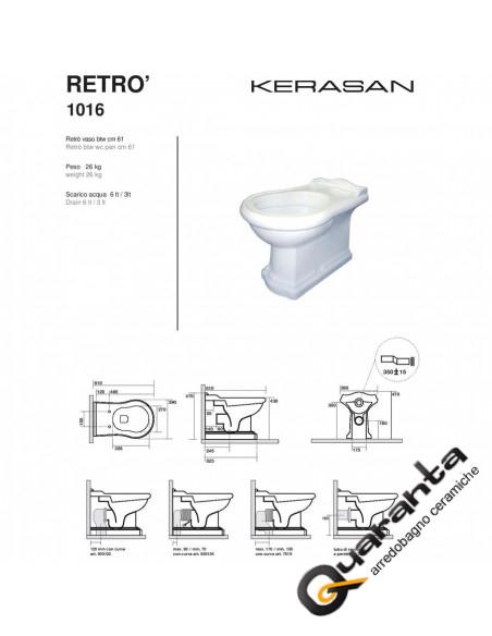 Kerasan Retro' vaso BTW completo di coprivaso noce