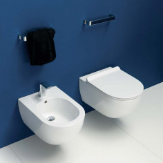 Flaminia MiniApp wall hung goclean MATT WHITE toilet pan with soft close slim seat and bidet