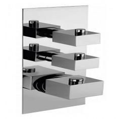 Bongio DOMINO Q Miscelatore termostatico incasso con 2 rubinetti di apertura/chiusura su piastra unica (2 uscite)