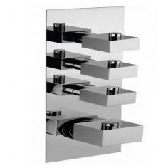 Bongio DOMINO Q Miscelatore termostatico incasso con 3 rubinetti di apertura/chiusura su piastra unica (3 uscite)