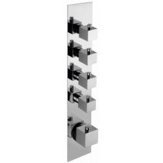 Bongio DOMINO Q Miscelatore termostatico incasso con 4 rubinetti di apertura/chiusura su piastra unica (4 uscite)