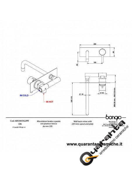 Bongio ON Miscelatore lavabo incasso con bocca 220 mm. e piastra