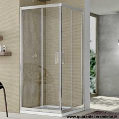 Box doccia Nolan quadrato 80x80 cristallo stampato 6 mm altezza 190 cm