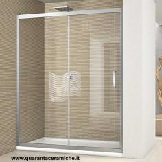 Box doccia Nolan nicchia scorrevole 100 cm cristallo trasparente 6mm altezza 185 cm