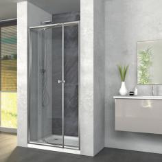 Box doccia Zaffiro 90x80 con porta battente e lato fisso cristallo stampato altezza 190 cm