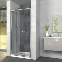 Box doccia Zaffiro 120x90 con porta battente e lato fisso cristallo stampato altezza 190 cm