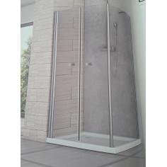 Box doccia Perla 90x80 apertura saloon e lato fisso cristallo trasparente altezza 190 cm