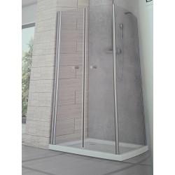 Box doccia Perla 90x80 apertura saloon e lato fisso cristallo stampato altezza 190 cm