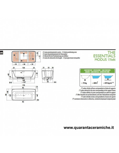 Jacuzzi Vasca freestanding Essential Modus 170x86x58 H