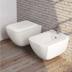 Cielo Shui Comfort Wall Hung Toilet Pan with soft close slim seat and bidet