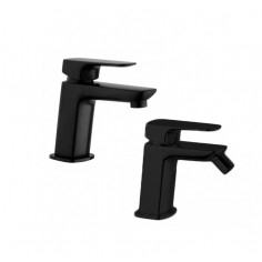 Paini Nove matt black basin and bidet taps