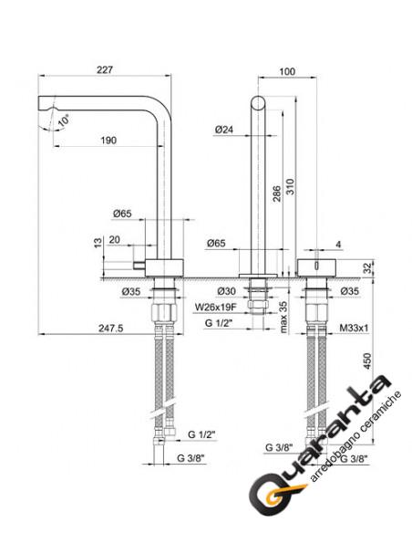 Fantini AF/21 Miscelatore lavabo 2 fori cromo con cartuccia progressiva