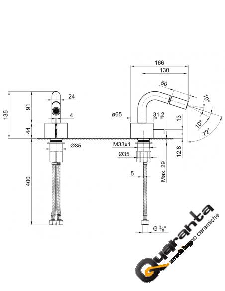 Fantini AF/21 Miscelatore lavabo da parete e bidet cromo/acciaio con cartuccia tradizionale con cartuccia tradizionale