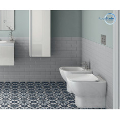 Ideal Standard Tesi Back to wall Aquablade Toilet Pan with soft close seat and bidet
