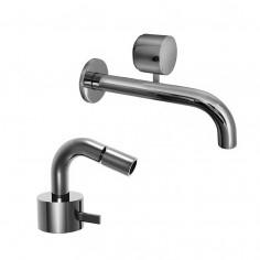 Fantini AF/21 Miscelatore lavabo da parete e bidet cromo o acciaio con cartuccia tradizionale