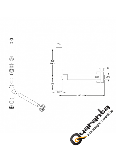 Sifone in acciaio Inox 304 nero opaco modello minimal