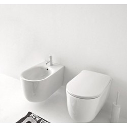 Kerasan Nolita wall hung norim toilet pan with soft close seat and bidet
