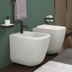 Sanitärkeramik mit Wandanschluss Cielo Era WC rimfree 2.0, Bidet und Toilettensitz mit Slow Close Funktion