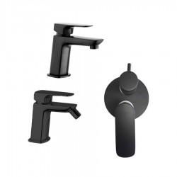 Paini Nove nero opaco miscelatore per lavabo, bidet e miscelatore doccia incasso