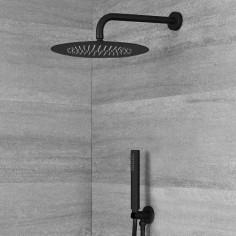 Soffione tondo 25 cm, braccio doccia 35 cm, doccetta in ottone con duplex finitura nero opaco