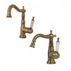 Bugnatese Oxford miscelatore monocomando lavabo e bidet bronzo