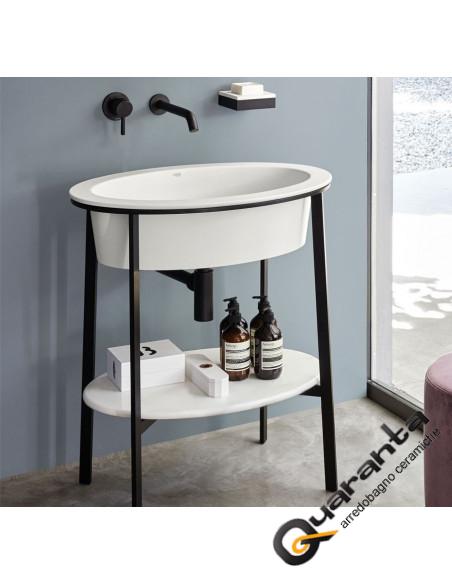 Catino Ovale, lavabo piano in ceramica struttura in acciaio e specchio