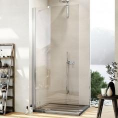 Parete doccia walk-in a muro da 80 cm con cristallo e barra stabilizzatrice