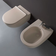 Flaminia App wall hung goclean CLAY toilet pan with soft close slim seat and bidet