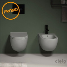 Cielo Enjoy 48 Wall Hung Toilet Pan with soft close seat and bidet