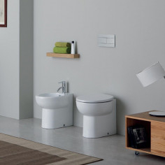 Kerasan Bit back to wall toilet pan with soft close seat and bidet