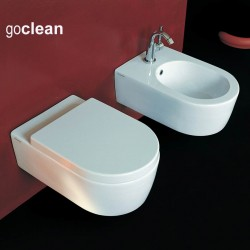 Flaminia Link wall hung toilet pan Goclean with soft close seat and bidet