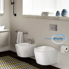 Ideal Standard Dea wall hung toilet pan Aquablade with soft close seat and bidet