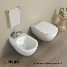 Flaminia Io 2,0 wall hung Goclean toilet pan with slim soft close seat and bidet