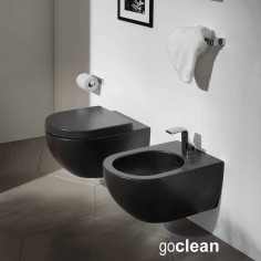 Flaminia App GRAPHITE wall hung Goclean toilet pan with soft close slim seat and bidet