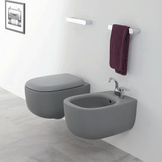 Flaminia Bonola GREY LAVA wall hung Goclean toilet pan with soft close wrap over seat and bidet
