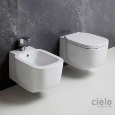 Cielo Cubika wall hung toilet pan with soft close seat and bidet
