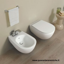 Flaminia Io 2.0 wall hung MATT WHITE toilet pan with soft close slim seat and bidet