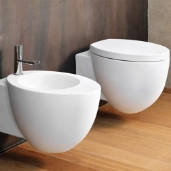 Cielo Le Giare wall hung toilet pan with soft close seat and bidet