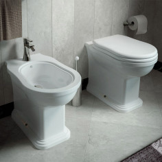 Flaminia Efi Plus back to wall toilet pan with seat and bidet