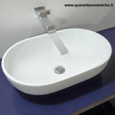 Flaminia Pass lavabo ovale da appoggio cm 62 latte