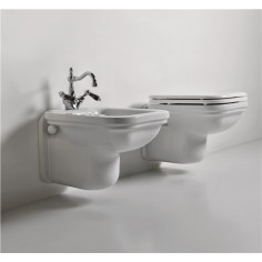 Kerasan Waldorf wall hung toilet pan with soft-close seat and bidet