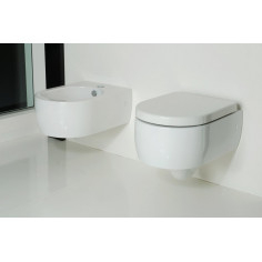 Kerasan Flo 50 wall hung toilet pan with wrap over seat and bidet