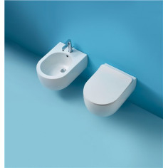 Kerasan Flo 50 wall hung toilet pan with slim soft close seat and bidet