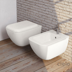 Cielo Shui Comfort wall hung keep clean MATT WHITE toilet pan with soft close seat and bidet
