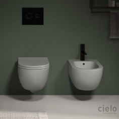 Cielo Enjoy wall hung keep clean MATT WHITE toilet pan with soft close seat and bidet